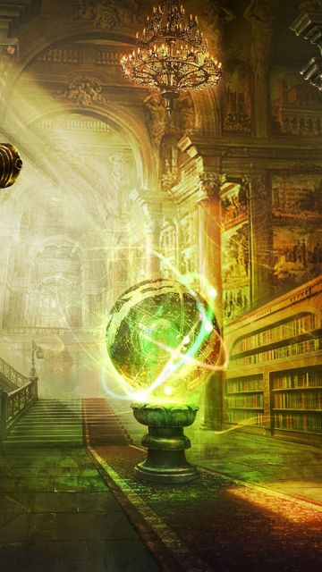 360x640 Wallpaper magic, ball, library, columns, castle