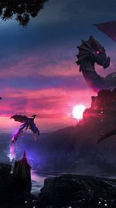 Preview wallpaper magician, dragon, art, magic, fantasy