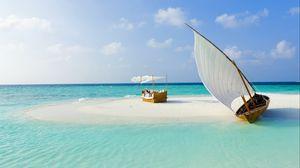 Preview wallpaper maldives, beach, tropical, sea, sand, island, boat, summer