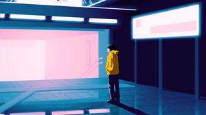 Preview wallpaper man, art, station, exit