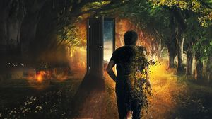 Preview wallpaper man, door, run, time, imagination, forest, art