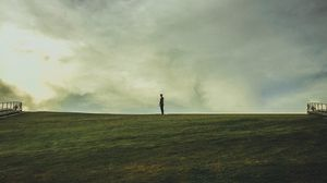 Preview wallpaper man, horizon, field, solitude, alone