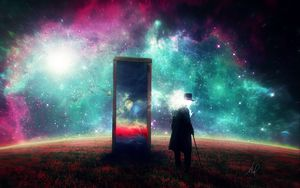 Preview wallpaper man, mirror, space, art, surrealism
