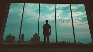 Preview wallpaper man, silhouette, window, birds