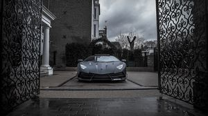 Preview wallpaper mansory, lamborghini, aventador, black, gate, front view