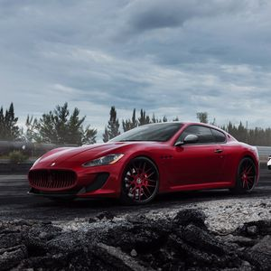 Preview wallpaper maserati, granturismo, mc, red, side view