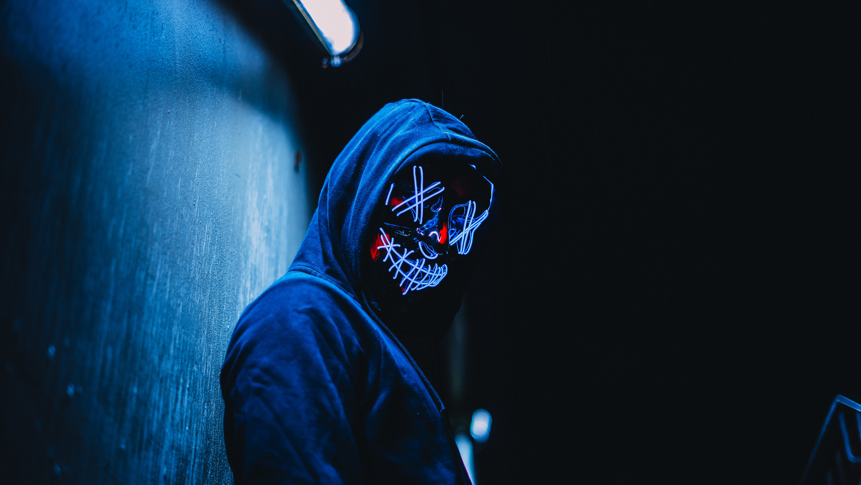 Download Wallpaper 6000x3376 Mask Anonymous Hood Glow Dark Hd