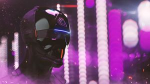 Preview wallpaper mask, helmet, cyberpunk, robot, neon, lights, head