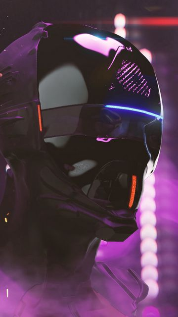 360x640 Wallpaper mask, helmet, cyberpunk, robot, neon, lights, head