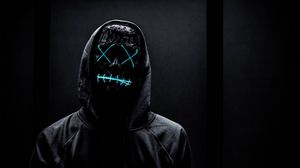 Preview wallpaper mask, neon, anonymous, black