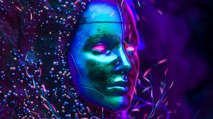 Preview wallpaper mask, neon, glitter, art