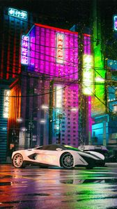 Preview wallpaper mclaren, car, supercar, white, buildings, neon, hieroglyphs