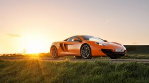 Preview wallpaper mclaren, mp4-12c, orange, front, sun, glare