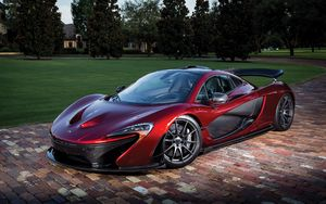 Preview wallpaper mclaren, p1, red, sports car, side view