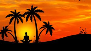 Preview wallpaper meditation, yoga, silhouette, palm trees, harmony