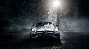 Preview wallpaper mercedes-benz, amg, gt s, 2016, silver, wood, night, front view