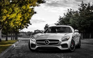 Preview wallpaper mercedes-benz, gt3, c190, silver, front view