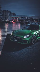 Preview wallpaper mercedes, car, green, wet, sportscar, supercar