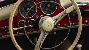 Preview wallpaper mercedes, car, retro, vintage, steering wheel