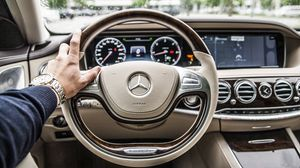 Preview wallpaper mercedes, car, steering wheel, interior