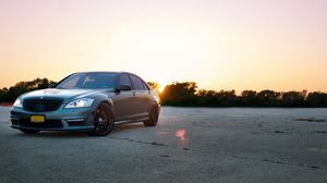 Preview wallpaper mercedes, s63 amg, front view, sunset