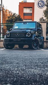Preview wallpaper mercedes, suv, black, front view
