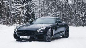Preview wallpaper mercedes-benz, mercedes, black, snow, forest