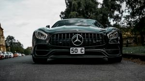 Preview wallpaper mercedes-benz, mercedes, car, black, sportscar, front view