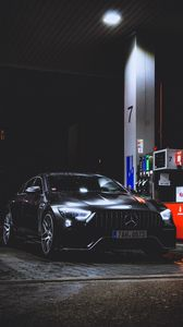 Preview wallpaper mercedes-benz, mercedes, refueling, rain