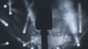 Preview wallpaper microphone, bw, sound, dark