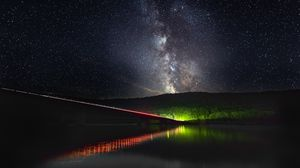 Preview wallpaper milky way, starry sky, stars, bridge, backlight