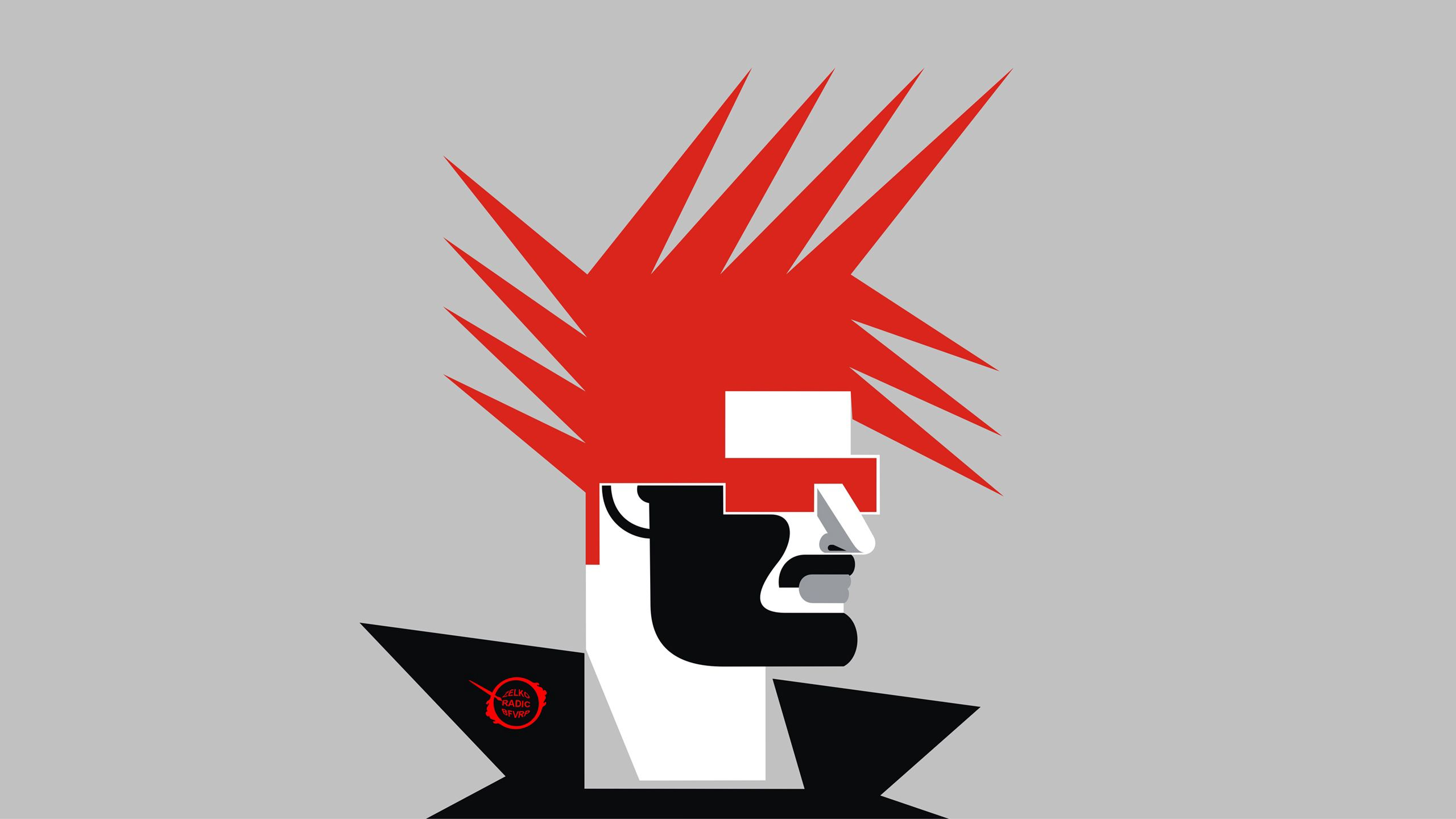 2560x1440 Wallpaper minimalism, art, mohawk, profile