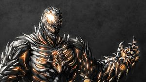 Preview wallpaper monster, iron, hand, crack, fire