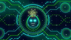Preview wallpaper monster, smiley, neon, sci-fi