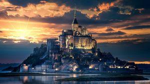 Preview wallpaper mont-saint-michel, france, island, castle