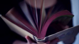 Preview wallpaper mood, girl, book, page, movement, turns the