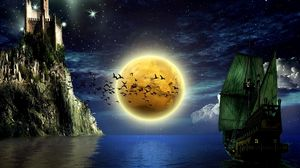 Preview wallpaper moon, birds, boats, water, castle, sky, stars