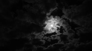 Preview wallpaper moon, clouds, night, bw