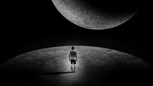 Preview wallpaper moon, man, loneliness, space, extraterrestrial, dark, black and white