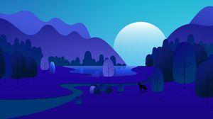 Preview wallpaper moon, mountains, trees, vector, cartoon, art, blue
