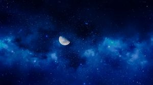 Preview wallpaper moon, night, stars, sky, full moon