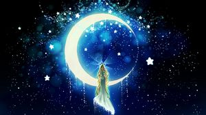 Preview wallpaper moon, stars, girl, night, art