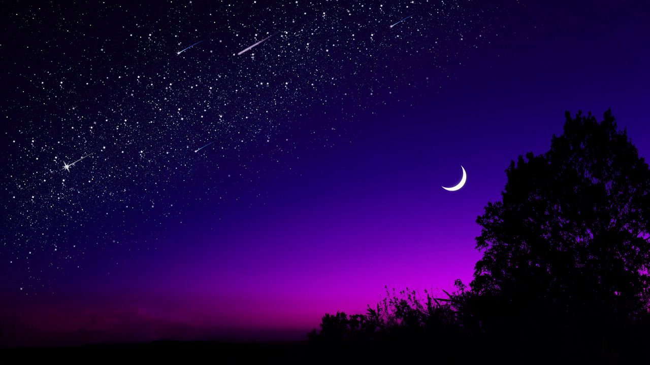 1280x720 Wallpaper moon, tree, starry sky, night, stars, dark
