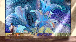 Preview wallpaper mosaic, picture, girl, art
