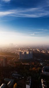 Preview wallpaper moscow city, russia, view, overview, home, capital, metropolis, skyscraper