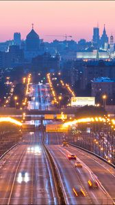 Preview wallpaper moscow, russia, bridge, night city, lights