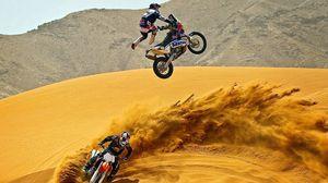 Preview wallpaper motocross, desert, motorcycle, sand