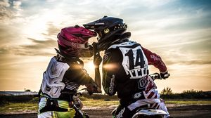 Preview wallpaper motocross, kiss, love, moto, sport, sunset
