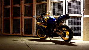 Preview wallpaper motorcycle, backyard, night
