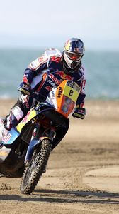 Preview wallpaper motorcycle, race, red bull, dakar, two, turn